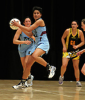 05.10.2012 North's Fa'amu Ross in action during the netball match between Wellington and North at the Lion Foundation Netball Champs in Tauranga. Mandatory Photo Credit ©Michael Bradley.