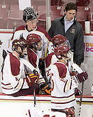 Chris Cobb (BC - 4), Ryan Polischuk (BC - 34), David Dansky (BC - 37) - The Boston College Eagles defeated the visiting Boston University Terriers 6-2 in ACHA play on Sunday, December 4, 2011, at Kelley Rink in Conte Forum in Chestnut Hill, Massachusetts.