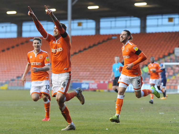 Blackpool's Harry Pritchard celebrates scoring his side's second goal with team-mates Matthew Virtue and Antony Evans<br /> <br /> Photographer Kevin Barnes/CameraSport<br /> <br /> The EFL Sky Bet League One - Blackpool v Walsall - Saturday 9th February 2019 - Bloomfield Road - Blackpool<br /> <br /> World Copyright &copy; 2019 CameraSport. All rights reserved. 43 Linden Ave. Countesthorpe. Leicester. England. LE8 5PG - Tel: +44 (0) 116 277 4147 - admin@camerasport.com - www.camerasport.com
