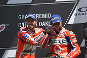 June 4th 2017, Mugello Circuit, Tuscany, Italy; MotoGP Grand Prix of Italy, Race day; Winner Andrea Dovizioso and 3rd placed Danilo Petrucci on podium
