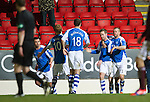St Johnstone v Hearts..15.12.12      SPL.Steven MacLean celebrates his goal with Rowan Vine.Picture by Graeme Hart..Copyright Perthshire Picture Agency.Tel: 01738 623350  Mobile: 07990 594431