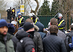 Police take out their batons to control the crowd<br /> <br /> - English Premier League - Tottenham Hotspur vs Arsenal  - White Hart Lane - London - England - 5th March 2016 - Pic David Klein/Sportimage