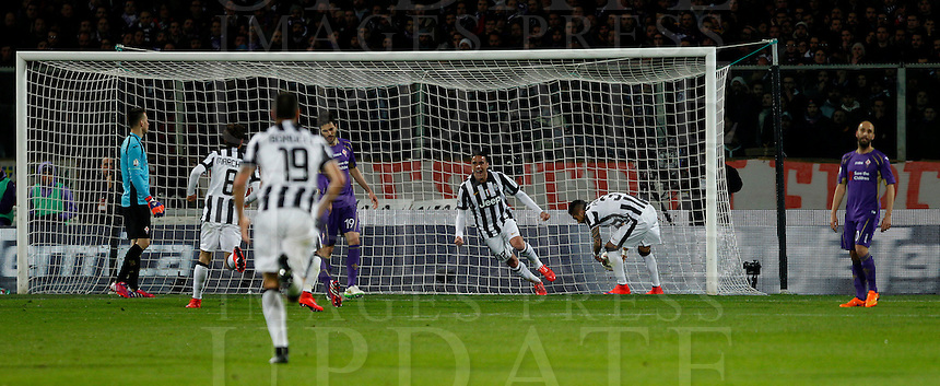 Calcio, Coppa Italia: semifinale di ritorno Fiorentina vs Juventus. Firenze, stadio Artemio Franchi, 7 aprile 2015. <br /> Juventus' Alessandro Matri, third from right, celebrates after scoring during the Italian Cup semifinal second leg football match between Fiorentina and Juventus at Florence's Artemio Franchi stadium, 7 April 2015.<br /> UPDATE IMAGES PRESS/Isabella Bonotto
