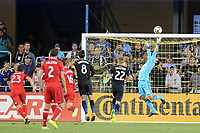 San Jose, CA - Wednesday September 27, 2017: Andrew Tarbell during a Major League Soccer (MLS) match between the San Jose Earthquakes and the Chicago Fire at Avaya Stadium.