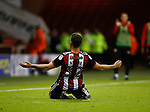 Ched Evans of Sheffield Utd celebrates scoring the equalising goal during the Carabao Cup First Round match at Bramall Lane Stadium, Sheffield. Picture date: August 9th 2017. Pic credit should read: Simon Bellis/Sportimage