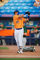 St. Lucie Mets catcher Ali Sanchez (25) at bat during a game against the Daytona Tortugas on August 3, 2018 at First Data Field in Port St. Lucie, Florida.  Daytona defeated St. Lucie 3-2.  (Mike Janes/Four Seam Images)