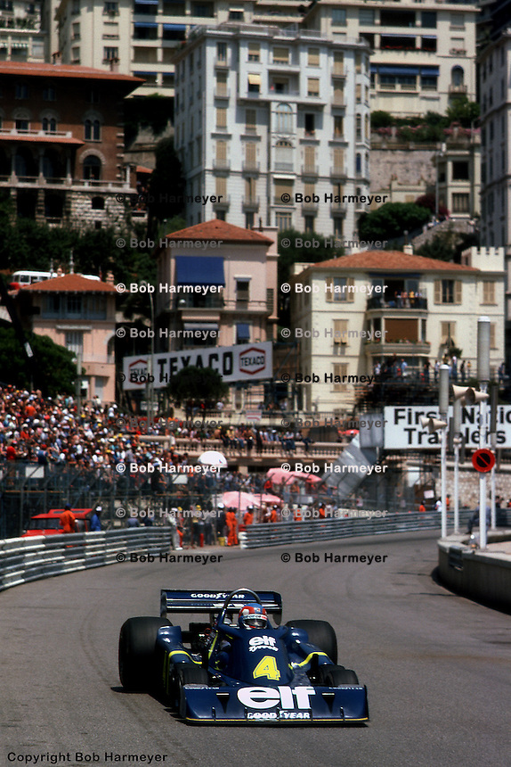 MONTE CARLO, MONACO - MAY 30: Patrick Depailler drives the Tyrrell P34 2/Ford Cosworth DFV during practice for the Grand Prix of Monaco on May 30, 1976, on the temporary street circuit in Monte Carlo, Monaco.