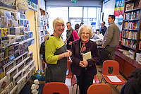 Lynn Brady (Risinghill) and Jenny Ellis (Leila's daughter) at the event to discuss Leila Berg's contribution to radical education and children's lives, Houseman's bookshop, London, 22nd May 2013.