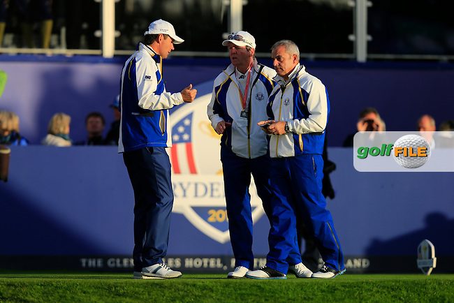Padraig Harrington, Paul McGinley and Des Smyth (EUR) during the Saturday morning Fourballs of the 2014 Ryder Cup at Gleneagles. The 40th Ryder Cup is being played over the PGA Centenary Course at The Gleneagles Hotel, Perthshire from 26th to 28th September 2014.: Picture Thos Caffrey, www.golffile.ie: \27/09/2014\