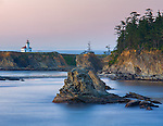 Sunset Bay State Park, OR<br /> Cape Arago Light on the headlands of the Oregon coast, Coos County