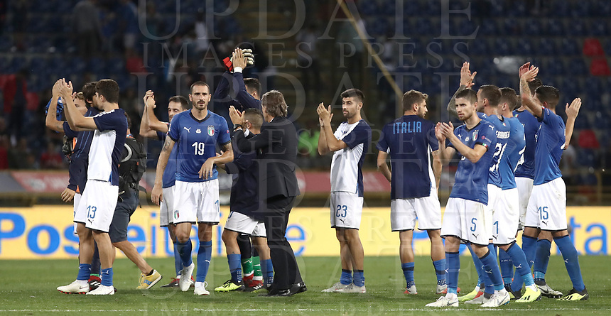 Football: Uefa Nations League match Italy vs Poland, Renato Dall'Ara stadium, Bologna, Italy, September 7, 2018. <br /> Italy's national team greets fans at the end of the Uefa Nations League match between Italy and Poland at the Renato Dall'Ara stadium, Bologna, Italy, September 7, 2018. <br /> Italy and Poland drawns 1-1.<br /> UPDATE IMAGES PRESS/Isabella Bonotto
