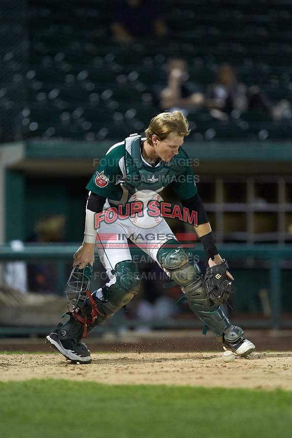 Fort Wayne TinCaps catcher Blake Hunt (12) on defense against the Bowling Green Hot Rods at Parkview Field on August 20, 2019 in Fort Wayne, Indiana. The Hot Rods defeated the TinCaps 6-5. (Brian Westerholt/Four Seam Images)