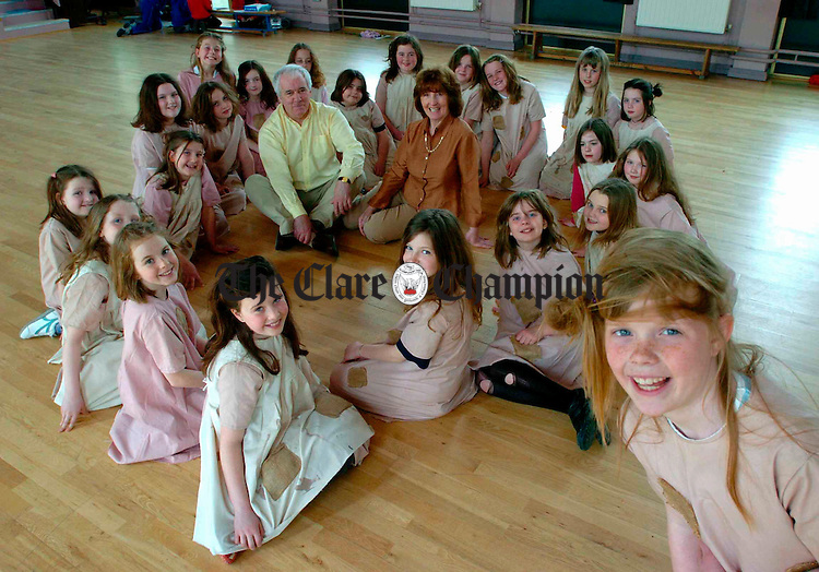 Caitlin Fitzgerald as Annie, with other cast members of the School Of Performing Arts in Ennis, in rehearsals as part of their forthcoming production, which runs in Glor on May 3rd and 4th. Photograph by John Kelly...m