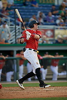 Batavia Muckdogs Sean Reynolds (25) bats during a NY-Penn League game against the Williamsport Crosscutters on August 25, 2019 at Dwyer Stadium in Batavia, New York.  Williamsport defeated Batavia 10-3.  (Mike Janes/Four Seam Images)