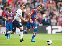 Everton Seamus Coleman and Crystal Palace Luka Milivojevic during the Premier League match between Crystal Palace and Everton at Selhurst Park, London, England on 10 August 2019. Photo by Andrew Aleksiejczuk / PRiME Media Images.