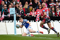 Ruaridh McConnochie of Bath Rugby scores a try in the first half. Gallagher Premiership match, between Gloucester Rugby and Bath Rugby on April 13, 2019 at Kingsholm Stadium in Gloucester, England. Photo by: Patrick Khachfe / Onside Images