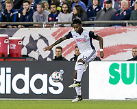 Foxborough, Massachusetts - July 29, 2017: In a Major League Soccer (MLS) match, New England Revolution (blue/white) defeated Philadelphia Union (white), 3-0, at Gillette Stadium.