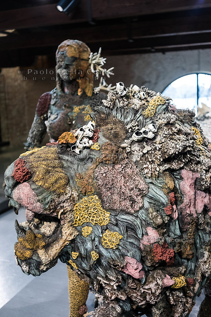 "Venezia - Punta della Dogana . La mostra di Damien Hirst: ""Tresaures from the Wreck of Unbelievable. - The lion woman of asit major""."