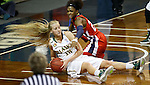 SIOUX FALLS MARCH 22:  Alysha Devine #15 of Alaska Anchorage tries to pass from the floor as Kristin Tines #22 of Francis Marions defends during their quarterfinal game at the NCAA Women's Division II Elite 8 Tournament at the Sanford Pentagon in Sioux Falls, S.D.  (Photo by Dick Carlson/Inertia)