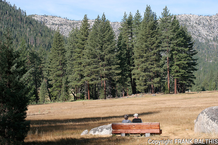 Couple at bench in Grover Hot Springs State Park