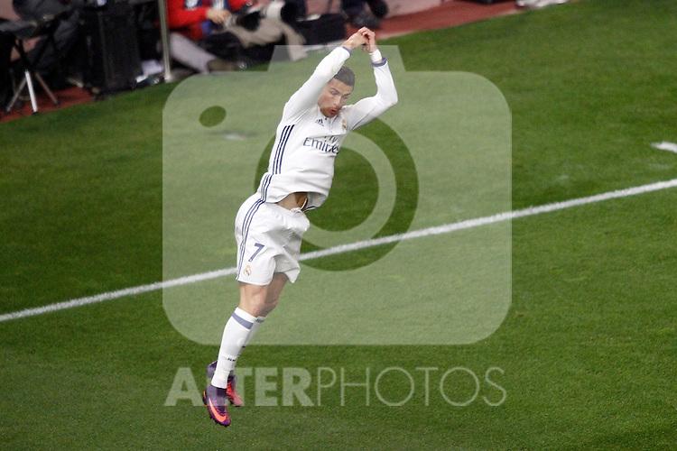 Real Madrid's Cristiano Ronaldo celebrates goal during La Liga match. November 19,2016. (ALTERPHOTOS/Acero)