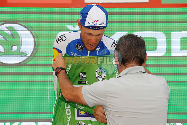 Matteo Trentin (ITA) Quick-Step Floors retains the points Green Jersey on the podium at the end of Stage 7 of the 2017 La Vuelta, running 207km from Ll&iacute;ria-Cuenca, Spain. 25th August 2017.<br /> Picture: Unipublic/&copy;photogomezsport | Cyclefile<br /> <br /> <br /> All photos usage must carry mandatory copyright credit (&copy; Cyclefile | Unipublic/&copy;photogomezsport)