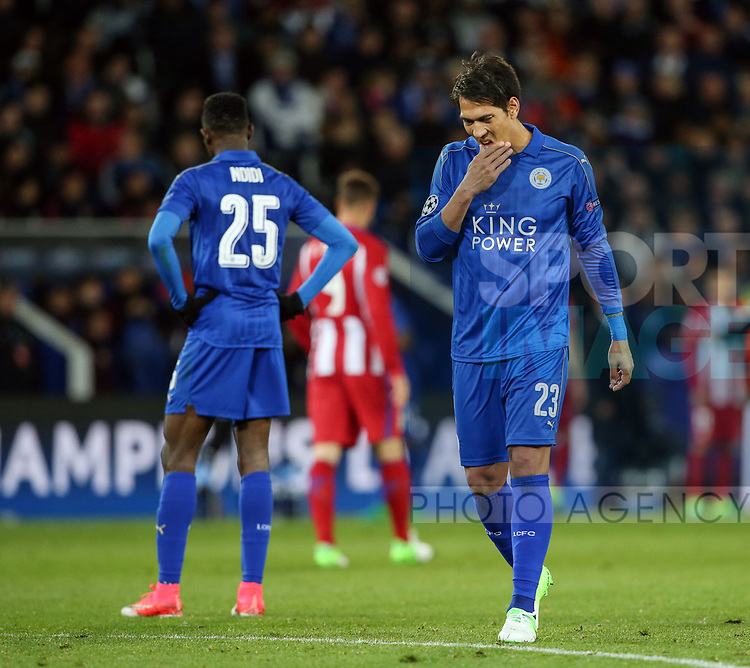 Leicester's Leonardo Ulloa looks on dejected during the Champions League Quarter-Final 2nd leg match at the King Power Stadium, Leicester. Picture date: April 18th, 2017. Pic credit should read: David Klein/Sportimage