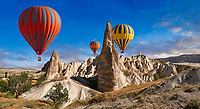 Pictures & images of hot air balloons over the fairy chimney pillar rock formations  near Goreme, Cappadocia, Nevsehir, Turkey