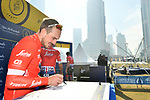 John Degenkolb (GER) Trek-Segafredo at sign on before the start of Stage 2 The  Ras Al Khaimah Stage of the Dubai Tour 2018 the Dubai Tour&rsquo;s 5th edition, running 190km from Skydive Dubai to Ras Al Khaimah, Dubai, United Arab Emirates. 7th February 2018.<br /> Picture: LaPresse/Massimo Paolone | Cyclefile<br /> <br /> <br /> All photos usage must carry mandatory copyright credit (&copy; Cyclefile | LaPresse/Massimo Paolone)