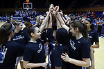 DURHAM, NC - DECEMBER 29: Duke players huddle before the game. The Duke University Blue Devils hosted the Liberty University Flames on December 29, 2017 at Cameron Indoor Stadium in Durham, NC in a Division I women's college basketball game. Duke won the game 68-51.