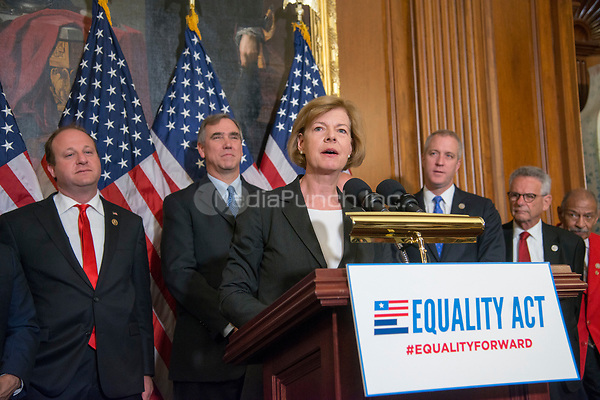 Washington DC, May 2, 2017,USA: Senator Tammy Baldwin, D-WI and other Members of the House and Senate hold a press conference to re-introduce the Equality Act which guarantees protection for Lesbian, Gay,Bi-sexual and Transgender(LGBT) people throughout the United States.  Photo by Patsy Lynch/MediaPunch