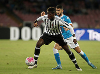 Calcio, Serie A: Napoli vs Juventus. Napoli, stadio San Paolo, 26 settembre 2015. <br /> Juventus&rsquo; Paul Pogba, left, is challenged by Napoli&rsquo;s Elseid Hysaj during the Italian Serie A football match between Napoli and Juventus at Naple's San Paolo stadium, 26 September 2015.<br /> UPDATE IMAGES PRESS/Isabella Bonotto