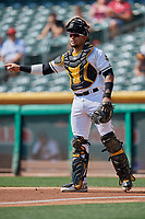 Jose Briceno (14) of the Salt Lake Bees on defense against the Fresno Grizzlies at Smith's Ballpark on September 4, 2017 in Salt Lake City, Utah. Fresno defeated Salt Lake 9-7. (Stephen Smith/Four Seam Images)