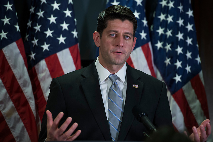 UNITED STATES - FEBRUARY 07: Speaker of the House Paul Ryan, R-Wis., conducts a news conference at the RNC after a meeting of the House Republican Conference, February 7, 2017. (Photo By Tom Williams/CQ Roll Call)