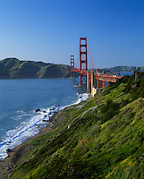 Golden Gate National Recreation Area, CA<br /> Golden Gate Bridge and green headlands above Baker Beach