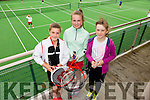 l-r Kayley Costello, Isabel Curran and Hannah Tansley at the Hillbilly's Tennis Cup Family Fun Day at Tralee Tennis Club on Saturday