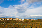 The Wine Route in early spring in Beaujolais, France. The village of Julienas, one of the ten crus of Beaujolais.