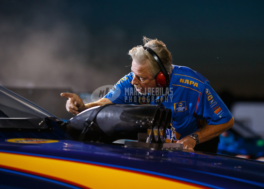 Sep 2, 2016; Clermont, IN, USA; Rahn Tobler , crew chief for NHRA funny car driver Ron Capps during qualifying for the US Nationals at Lucas Oil Raceway. Mandatory Credit: Mark J. Rebilas-USA TODAY Sports