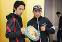 (L to R) Shinsuke Yamanaka (JPN),  Christian Esquivel (MEX), NOVEMBER 4, 2011 - Boxing : Shinsuke Yamanaka of Japan and Christian Esquivel of Mexico pose during a signing ceremony for WBC Bantam weight title bout in Tokyo, Japan. (Photo by Yusuke Nakanishi/AFLO SPORT) [1090]