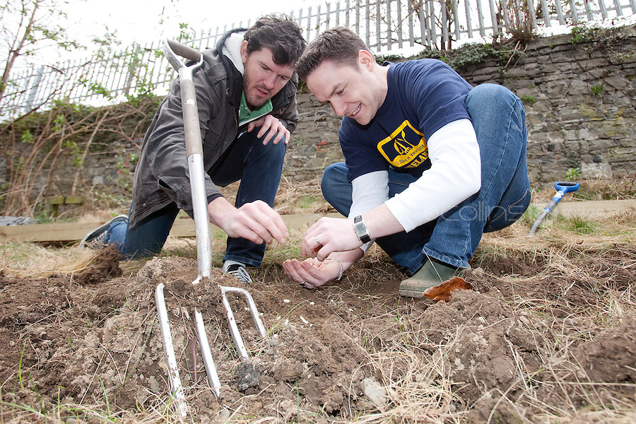 NO REPRO FEE. 13/3/2011. Shane Horgan Grow It Yourself. Pictured here at the Seven Oaks community Garden, Dublin is Rugby Player and Arthur Guinness Fund Ambassador Shane Horgan alongside Ciaran Walsh of GIY,, at the launch of GIY (Grow It Yourself)Week running until 19th March. Shane has joined forces with the Arthur Guinness Fund to pledge his support for GIY by planting runner bean seeds and will share the progress of his new green venture via regular updates on the Guinness Ireland Facebook page. GIY Week is timed to coincide with the start of the 2011 growing season, and will encourage people all across Ireland to grow their own food. Picture James Horan/Collins Photos