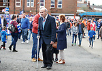 Johnny Hubbard walking through the crowds outside Ibrox