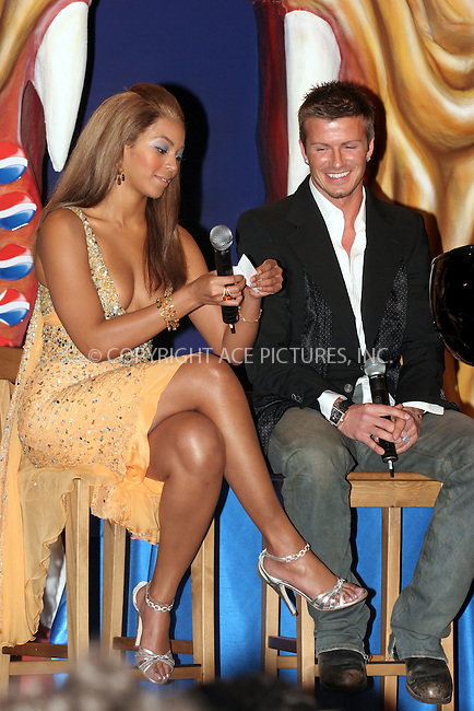 WWW.ACEPIXS.COM . . . . .  ... . . . . US SALES ONLY . . . . .....MADRID, FEBRUARY 23, 2005....Beyonce Knowles and David Beckham in Madrid to launch the Pepsi Spot campaign which took place at the Circulo De Bellas Artes.....Please byline: FAMOUS-ACE PICTURES-J. APARICIO... . . . .  ....Ace Pictures, Inc:  ..Philip Vaughan (646) 769-0430..e-mail: info@acepixs.com..web: http://www.acepixs.com