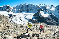 Trail running on Munt Pers, near the Diavolezza, with views of Piz Palu in the Bernina Group, Pontresina, Switzerland.