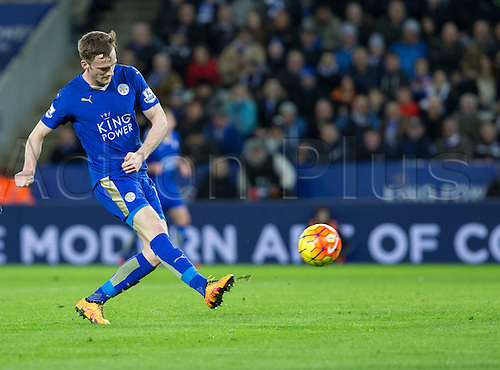 01.03.2016. King Power Stadium, Leicester, England. Barclays Premier League. Leicester versus West Bromwich Albion. Leicester City midfielder Andy King scores a goal in the 46th minutes of the first half to take Leicester City ahead 2-1.