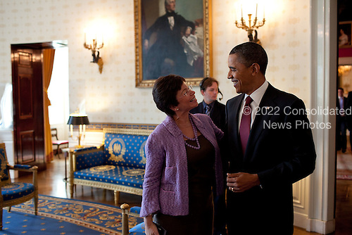 United States President Barack Obama chats with Senior Advisor Valerie Jarrett in the Blue Room of the White House before holding a press conference,  November 3, 2010. .Mandatory Credit: Pete Souza - White House via CNP