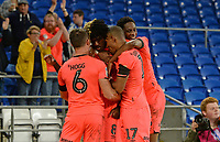 Huddersfield Town's Trevoh Chalobah celebrates scoring his side's first goal with his team mates<br /> <br /> Photographer Ian Cook/CameraSport<br /> <br /> The EFL Sky Bet Championship - Cardiff City v Huddersfield Town - Wednesday August 21st 2019 - Cardiff City Stadium - Cardiff<br /> <br /> World Copyright © 2019 CameraSport. All rights reserved. 43 Linden Ave. Countesthorpe. Leicester. England. LE8 5PG - Tel: +44 (0) 116 277 4147 - admin@camerasport.com - www.camerasport.com