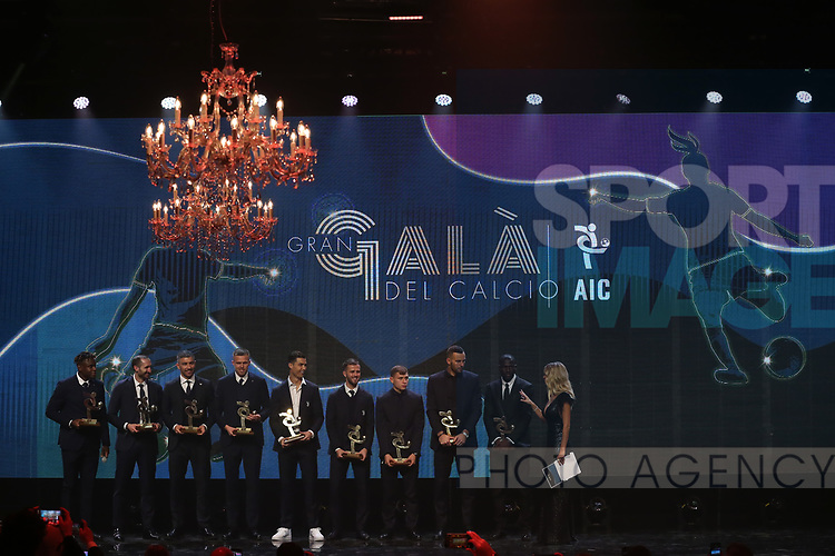 The Best eleven players pictured on the stage with their warts, ( L to R ); Duvan Zapata, Giorgio Chiellini, Aleksandar Kolarov, Josip Ilicic, Cristiano Ronaldo, Miralem Pjanic, Nicolo Barella, Samir Handanovic, Kalidou Koulibaly and Diletta Leotta, ( absent from the evening were Fabio Quagliarella and Joao Cancelo ) pictured at the The Italian Footballers Association Grand Gala of Football at the Megawatt Court, Milan. Picture date: 2nd December 2019. Picture credit should read: Jonathan Moscrop/Sportimage