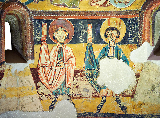 Romanesque frescoes depicting the Apostles from the Church of Sant Miguel d'Engolasters, Les Escaldes, Andorra.. Painted around 1160. National Art Museum of Catalonia, Barcelona. MNAC 15972