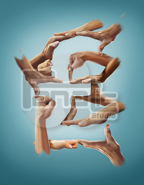 Illustrative image of hands forming pound sign against blue background