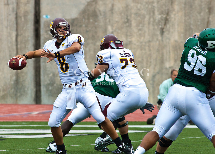 Central Michigan quarterback Ryan Radcliff (8) gets protection from offensive linesman Jake Olson (73) throwing a pass in the first quarter of an NCAA college football game with Eastern Michigan, Saturday, Sept. 18, 2010, in Ypsilanti, Mich. (AP Photo/Tony Ding)